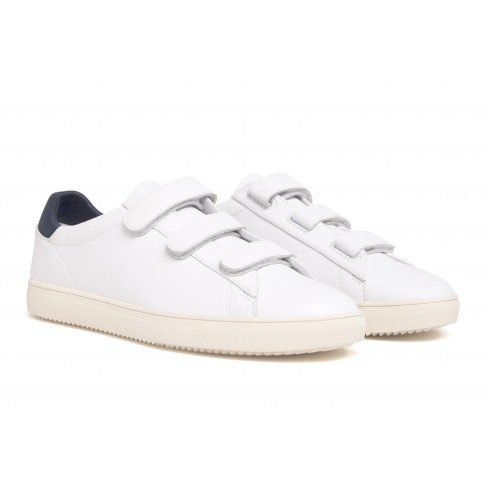 Clae Bradley Velcro White Milled Tumbled Leather