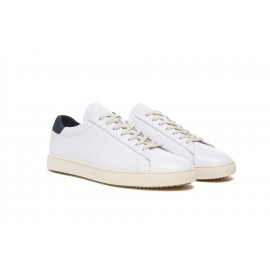 Clae Bradley White Leather Navy Neoprene